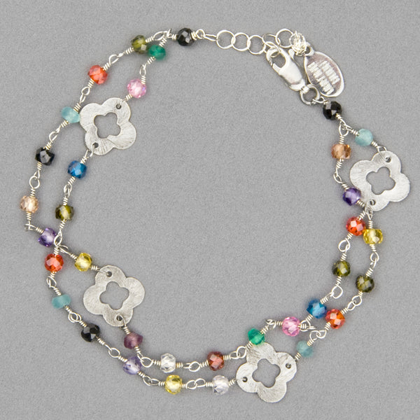 Anna Balkan Bracelet: May Mix Gems and Clovers, Silver with Multigem