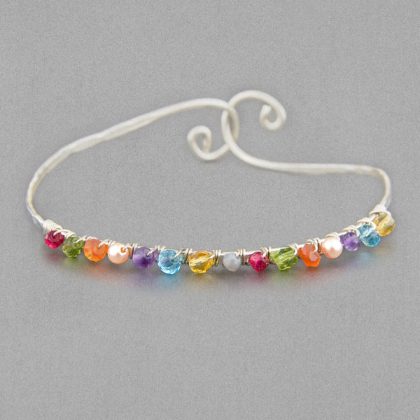 Anna Balkan Bracelet: Ribbons of Color, Silver with Multigem