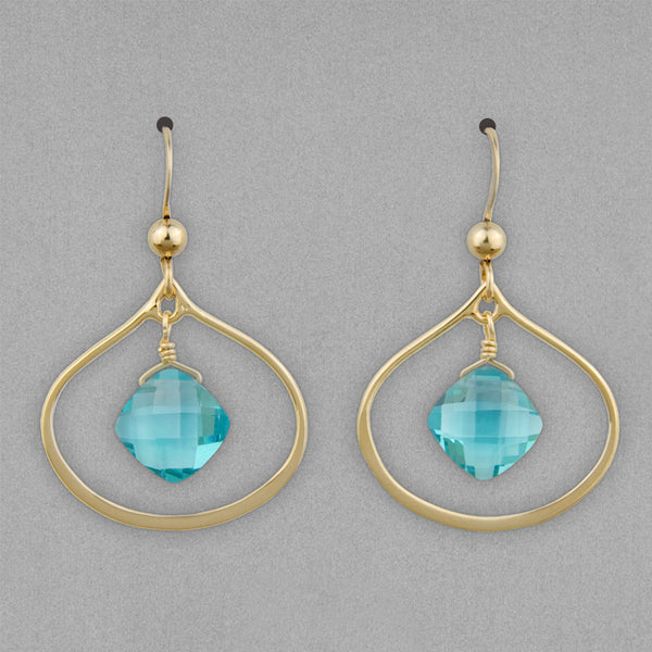 Anna Balkan Earrings: Nina Petal, Gold with Fluorite