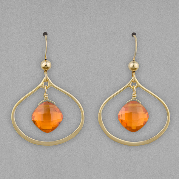Anna Balkan Earrings: Nina Petal, Gold with Orange