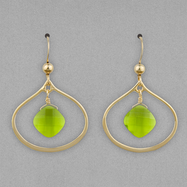 Anna Balkan Earrings: Nina Petal, Gold with Peridot
