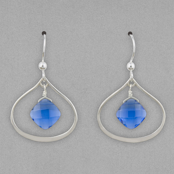 Anna Balkan Earrings: Nina Petal, Silver with Blue Quartz