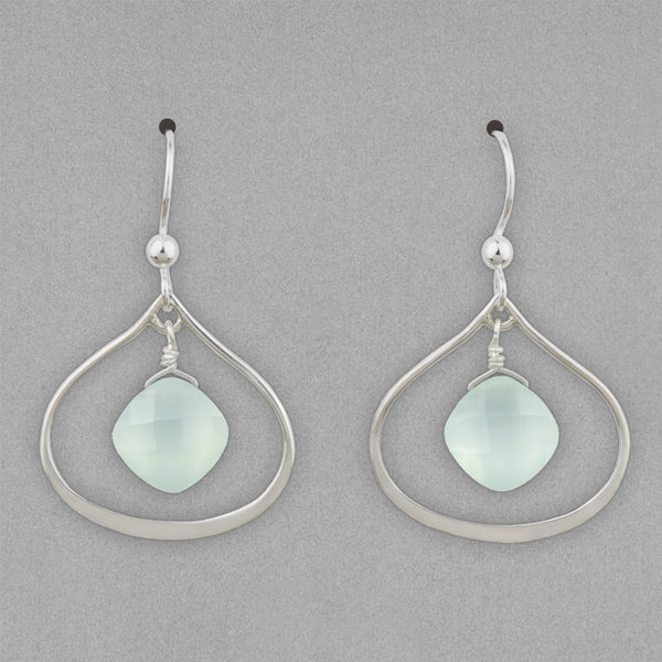 Anna Balkan Earrings: Nina Petal, Silver with Chalcedony