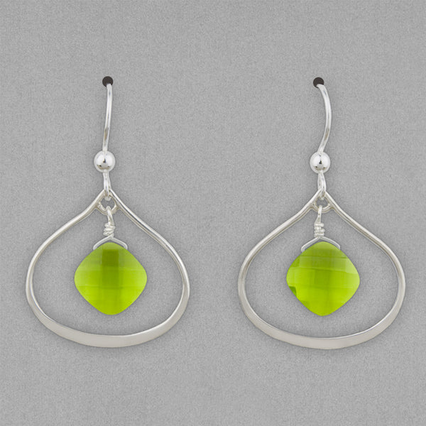 Anna Balkan Earrings: Nina Petal, Silver with Peridot
