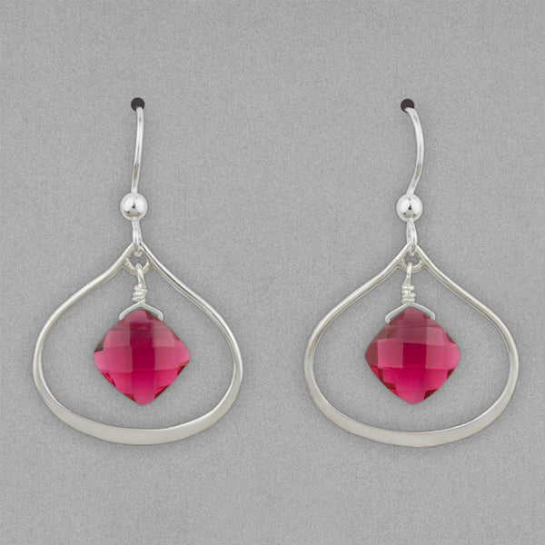 Anna Balkan Earrings: Nina Petal, Silver with Ruby Quartz