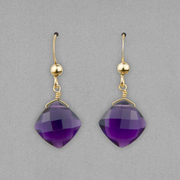 Anna Balkan Earrings: Kylie Fun, Gold with Amethyst