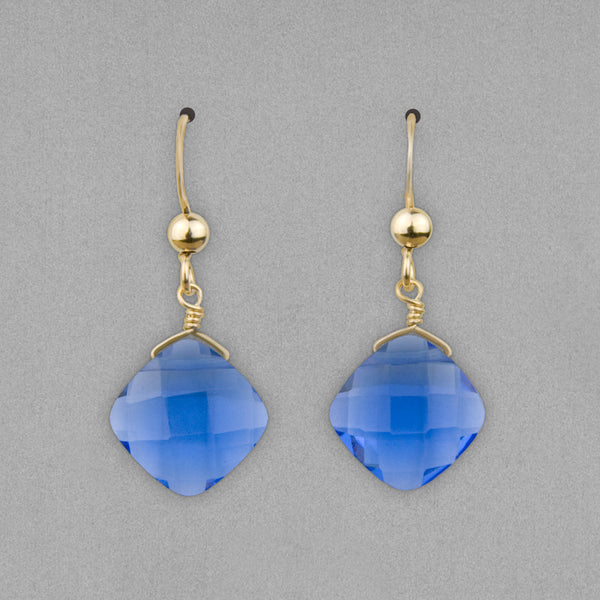 Anna Balkan Earrings: Kylie Fun, Gold with Blue Quartz