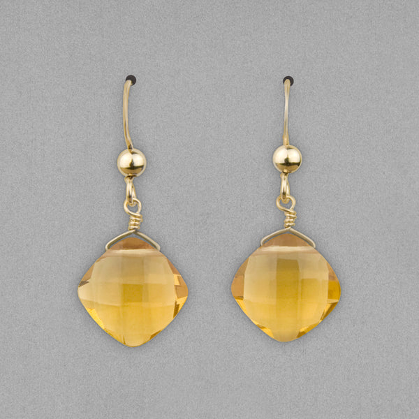Anna Balkan Earrings: Kylie Fun, Gold with Citrine