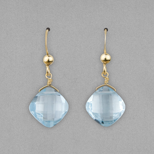 Anna Balkan Earrings: Kylie Fun, Gold with London Blue Topaz