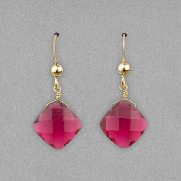 Anna Balkan Earrings: Kylie Fun, Gold with Ruby Quartz