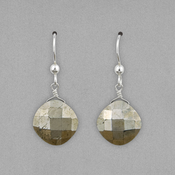 Anna Balkan Earrings: Kylie Fun, Silver with Pyrite