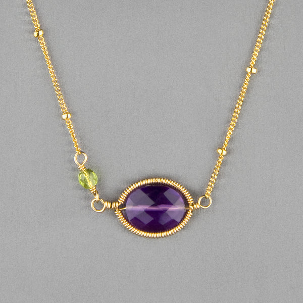Anna Balkan Necklace: Erika Oval Layering, Gold with Amethyst