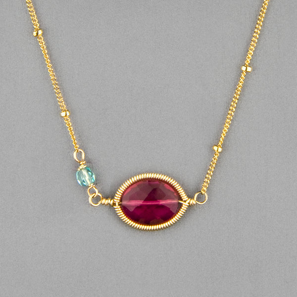 Anna Balkan Necklace: Erika Oval Layering, Gold with Ruby Quartz