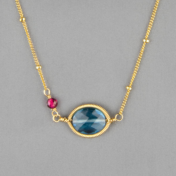 Anna Balkan Necklace: Erika Oval Layering, Gold with Spinel