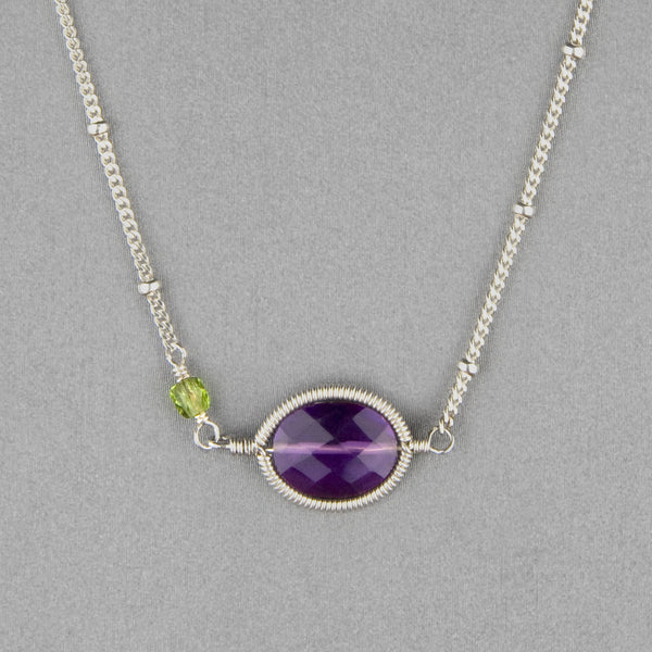 Anna Balkan Necklace: Erika Oval Layering, Silver with Amethyst