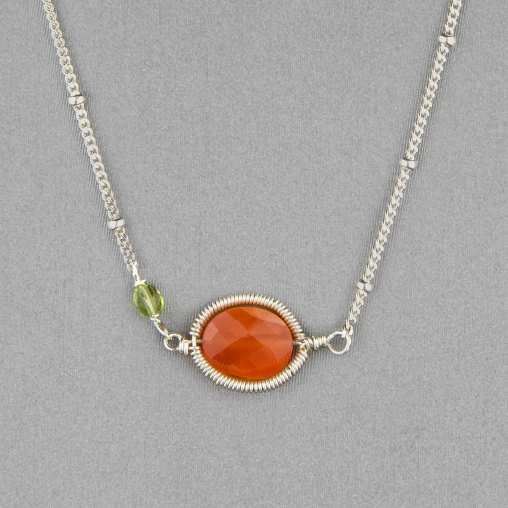 Anna Balkan Necklace: Erika Oval Layering, Silver with Carnelian