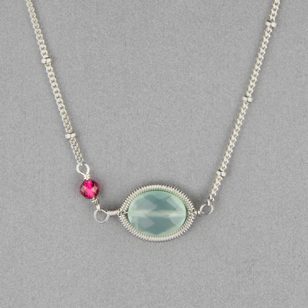 Anna Balkan Necklace: Erika Oval Layering, Silver with Chalcedony