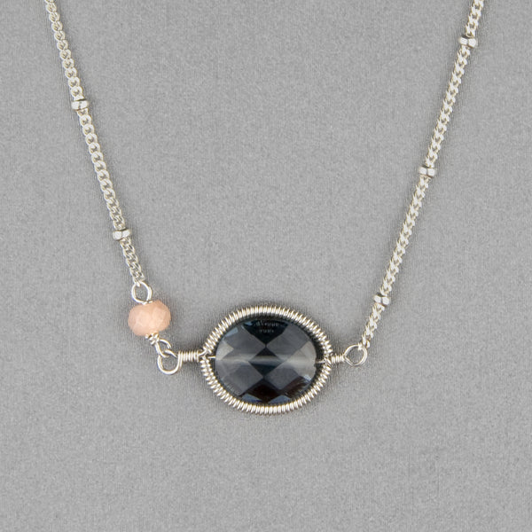 Anna Balkan Necklace: Erika Oval Layering, Silver with Dark Blue