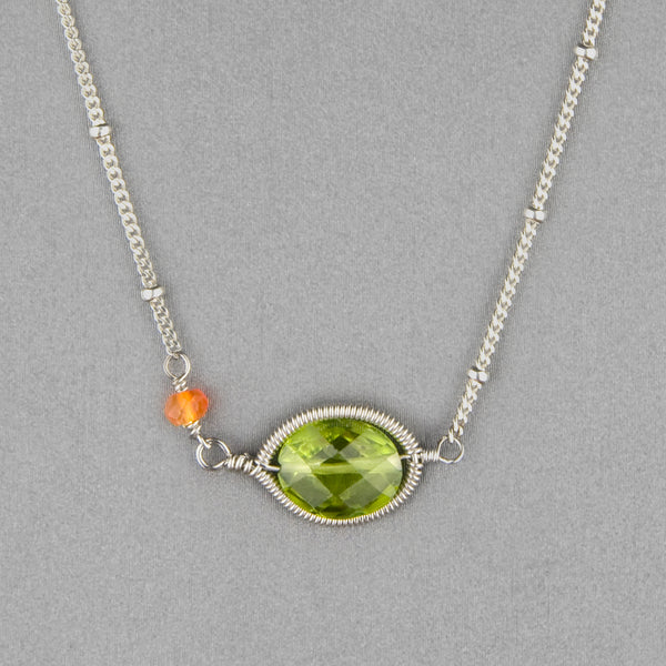 Anna Balkan Necklace: Erika Oval Layering, Silver with Peridot
