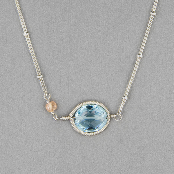 Anna Balkan Necklace: Erika Oval Layering, Silver with Blue Topaz