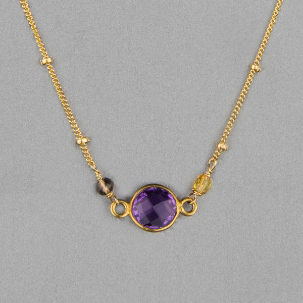 Anna Balkan Necklace: Ally Small Layering, Gold with Amethyst