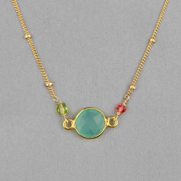 Anna Balkan Necklace: Ally Small Layering, Gold with Chalcedony