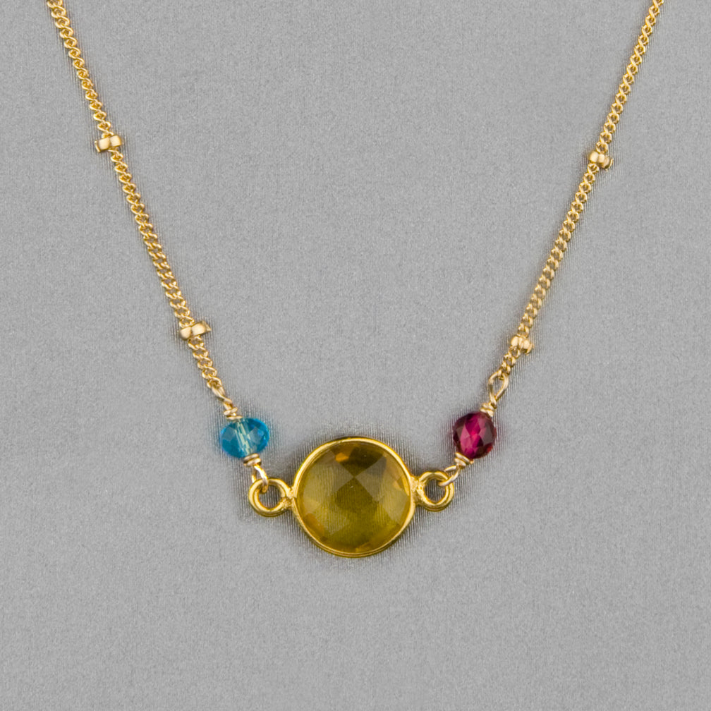 Anna Balkan Necklace: Ally Small Layering, Gold with Citrine