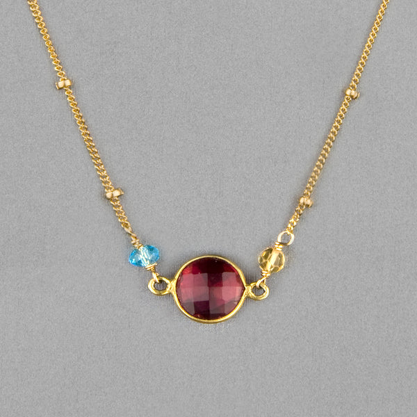 Anna Balkan Necklace: Ally Small Layering, Gold with Ruby Quartz