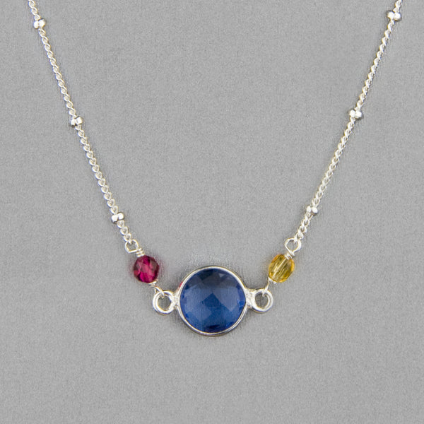 Anna Balkan Necklace: Ally Small Layering, Silver with Blue Quartz