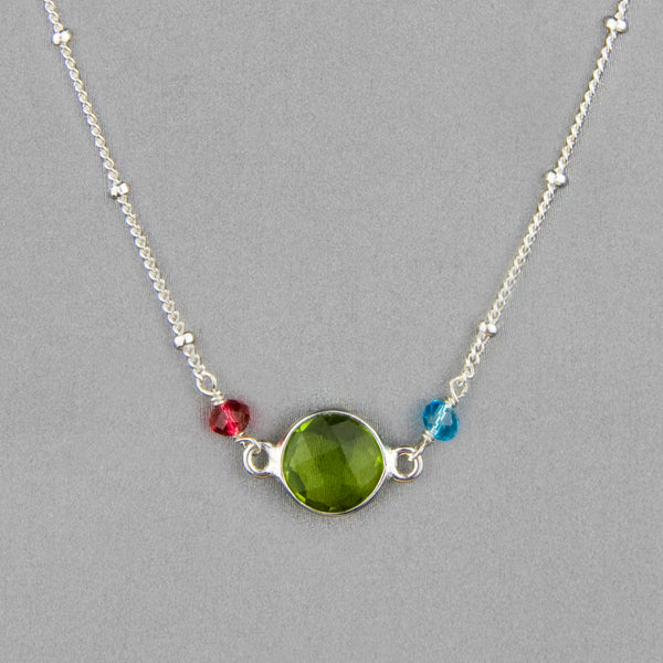 Anna Balkan Necklace: Ally Small Layering, Silver with Peridot