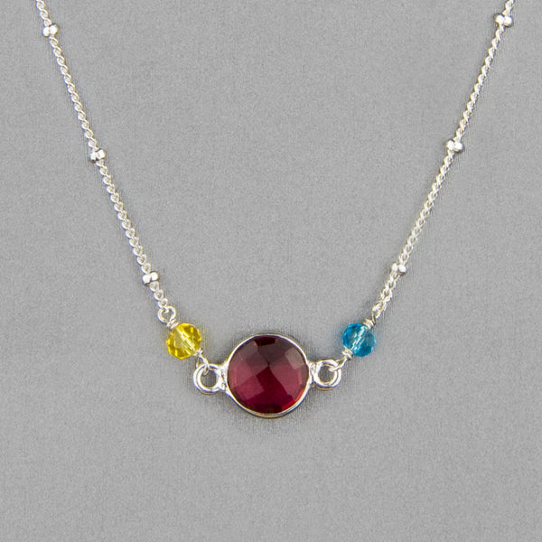 Anna Balkan Necklace: Ally Small Layering, Silver with Ruby Quartz