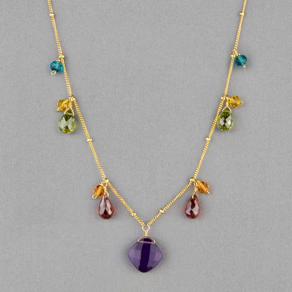 Anna Balkan Necklace: Zina Classic Gemstone, Gold with Amethyst