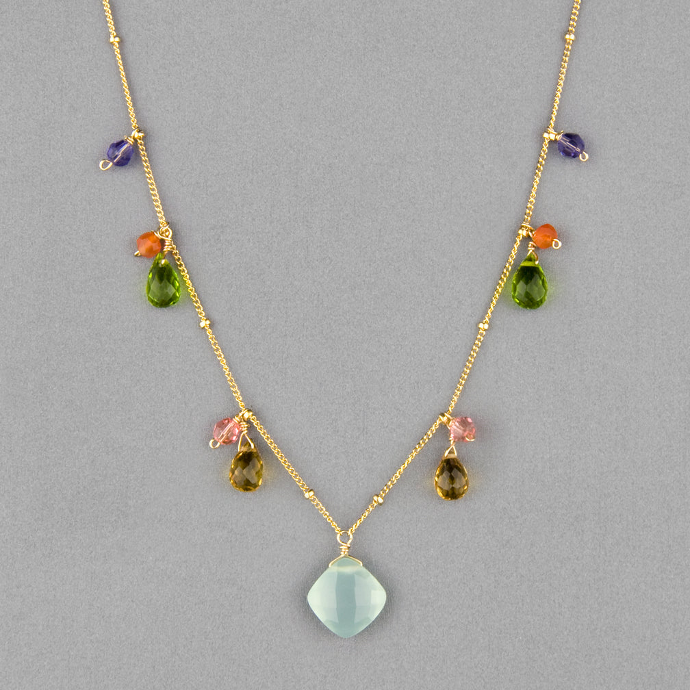 Anna Balkan Necklace: Zina Classic Gemstone, Gold with Chalcedony