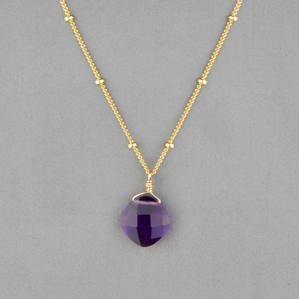 Anna Balkan Necklace: Kylie Single Gem, Gold with Amethyst