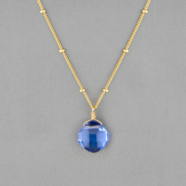 Anna Balkan Necklace: Kylie Single Gem, Gold with Blue Quartz