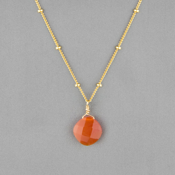 Anna Balkan Necklace: Kylie Single Gem, Gold with Carnelian