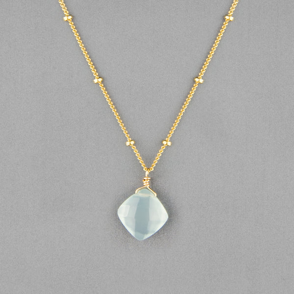 Anna Balkan Necklace: Kylie Single Gem, Gold with Chalcedony