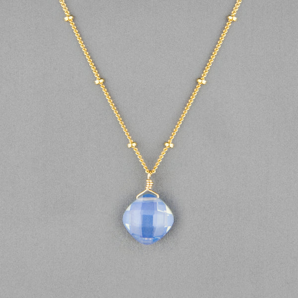 Anna Balkan Necklace: Kylie Single Gem, Gold with Opal