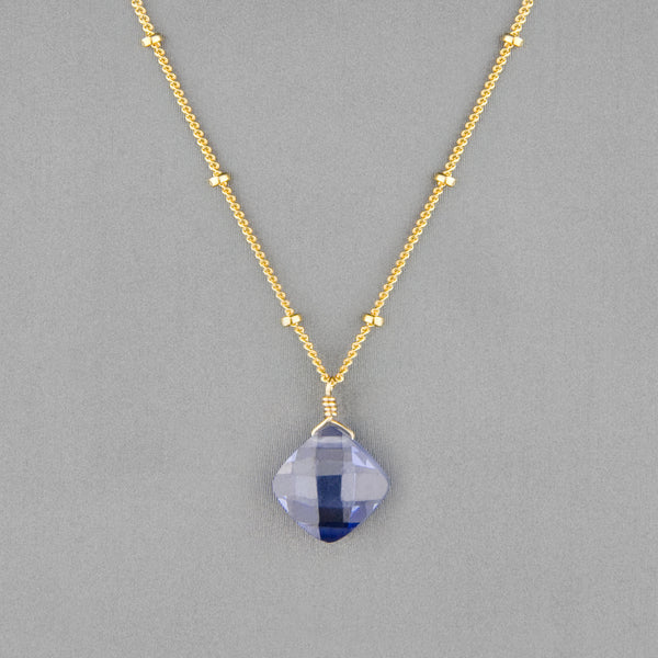 Anna Balkan Necklace: Kylie Single Gem, Gold with Tanzanite