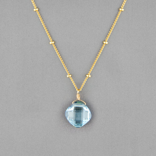 Anna Balkan Necklace: Kylie Single Gem, Gold with Blue Topaz