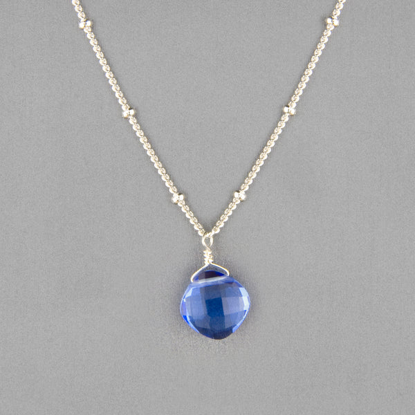 Anna Balkan Necklace: Kylie Single Gem, Silver with Blue Quartz
