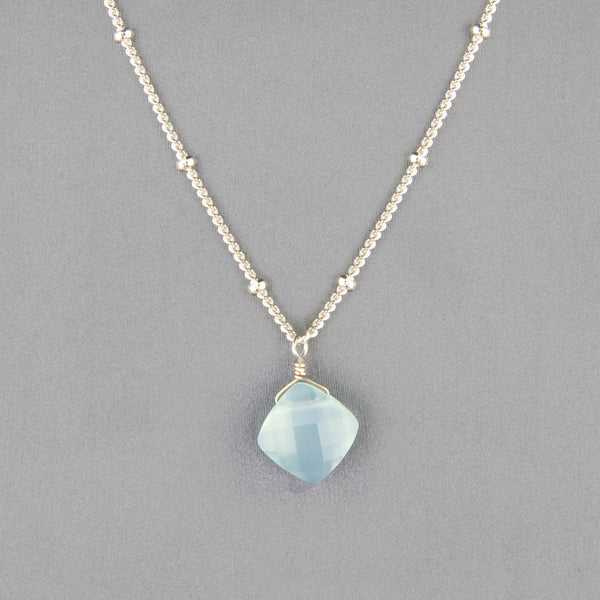 Anna Balkan Necklace: Kylie Single Gem, Silver with Chalcedony