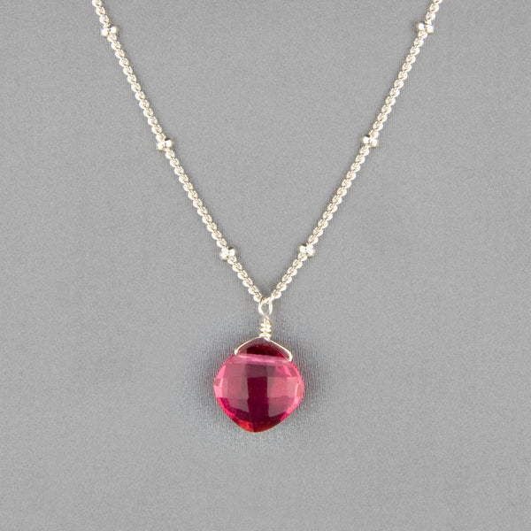Anna Balkan Necklace: Kylie Single Gem, Silver with Ruby Quartz