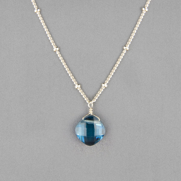 Anna Balkan Necklace: Kylie Single Gem, Silver with Spinel