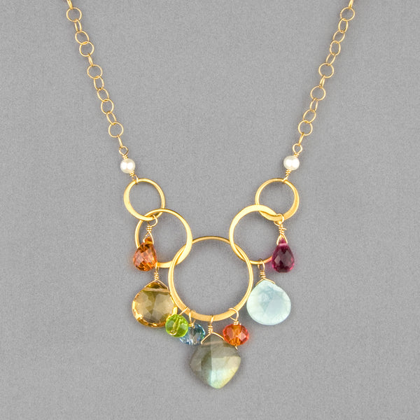 Anna Balkan Necklace: Free Spirit Gemstone, Gold with Labradorite