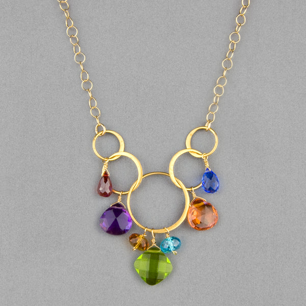 Anna Balkan Necklace: Free Spirit Gemstone, Gold with Peridot