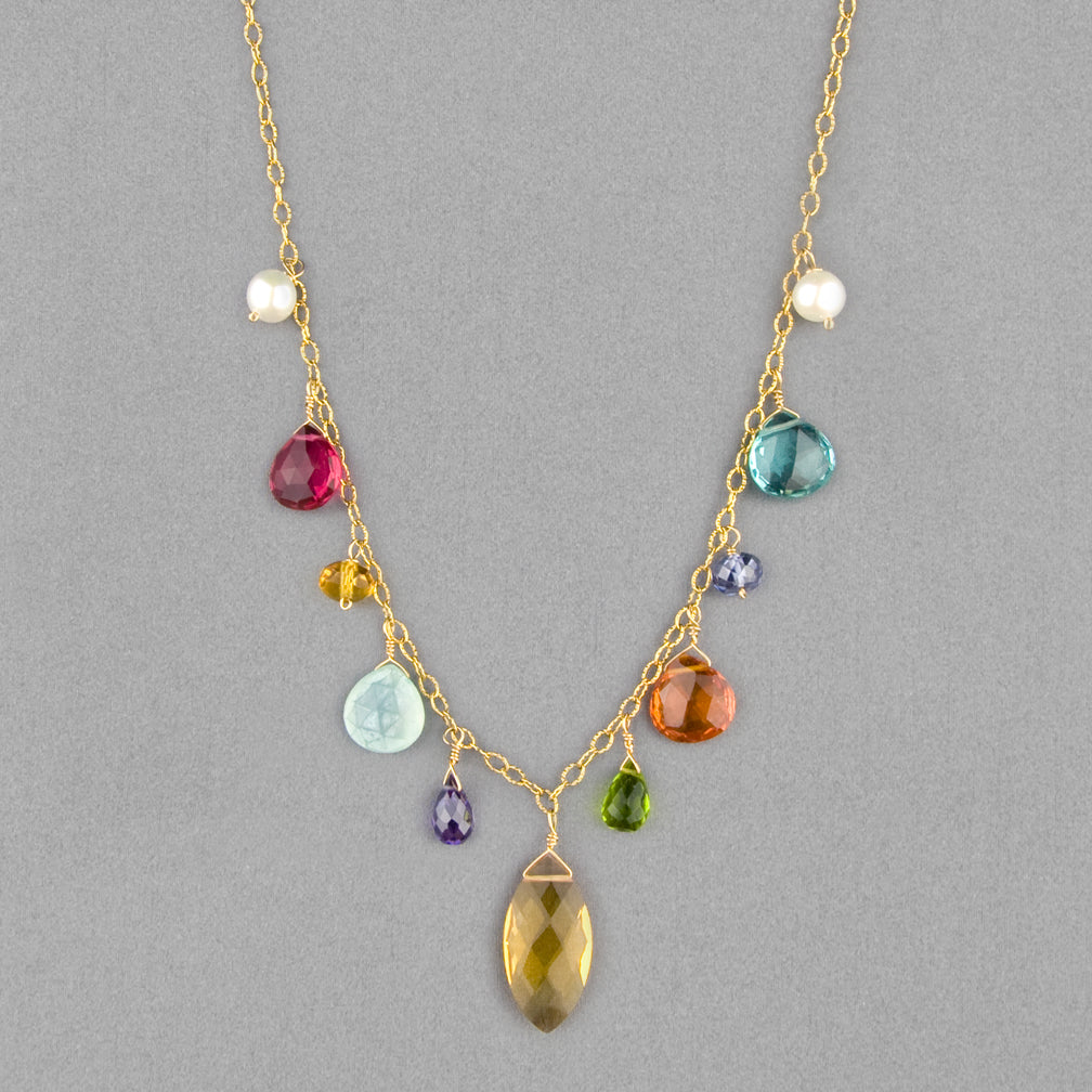 Anna Balkan Necklace: New Zina Gemstone, Gold with Citrine Marquee