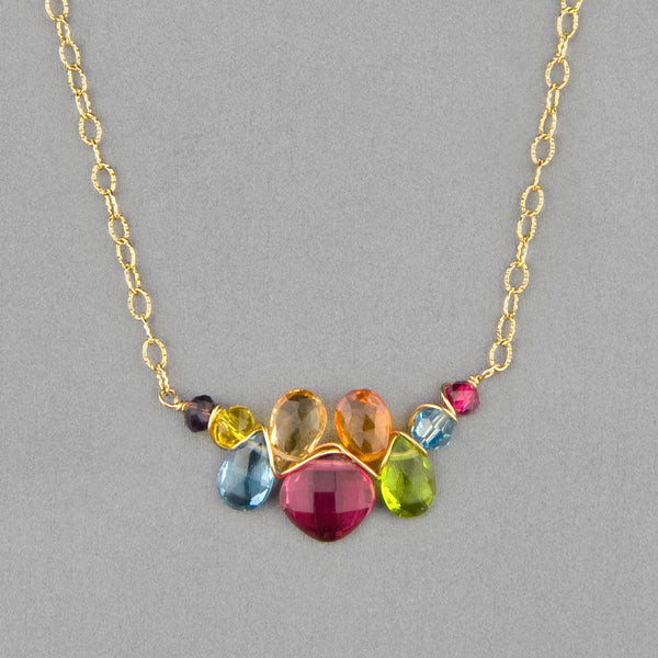 Anna Balkan Necklace: Mini Katie Gem, Gold with Ruby Quartz
