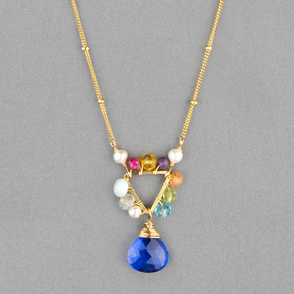 Anna Balkan Necklace: Mini Triangle Gemstone, Gold with Blue Quartz
