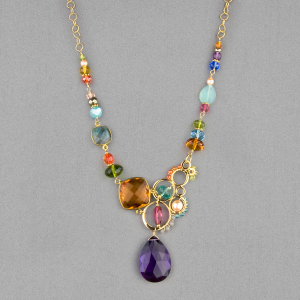 Anna Balkan Necklace: Arianna Large Bubble Gemstone, Gold with Amethyst